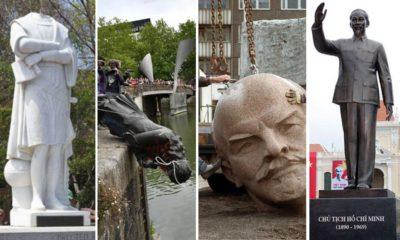 Tường đài Columbus (Mỹ), Edward Colston (Anh), Lenin (Nga), Hồ Chí Minh (Việt Nam). Ảnh: EPA, Alamy, Flickr, Virtual Saigon.