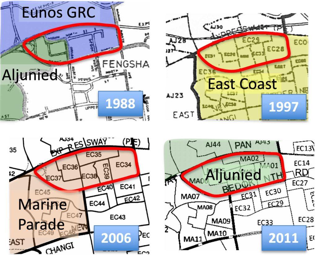 Bản đồ thể hiện sự thay đổi địa giới khu vực bầu cử ở Singapore qua các thời kỳ. Ảnh: New Naratif.