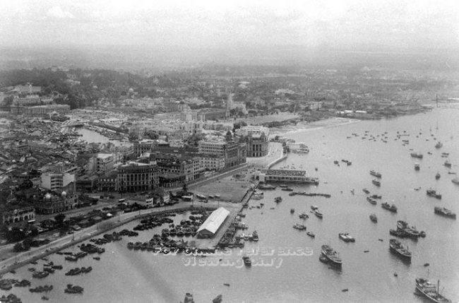 Không ảnh Singapore khoảng năm 1950. Ảnh: National Archives of Singapore (NAS).