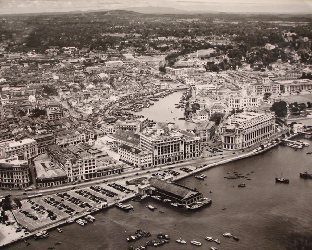 """""""Làng chài"""" Singapore cuối những năm 1940. Ảnh: photo-heritage.com."""