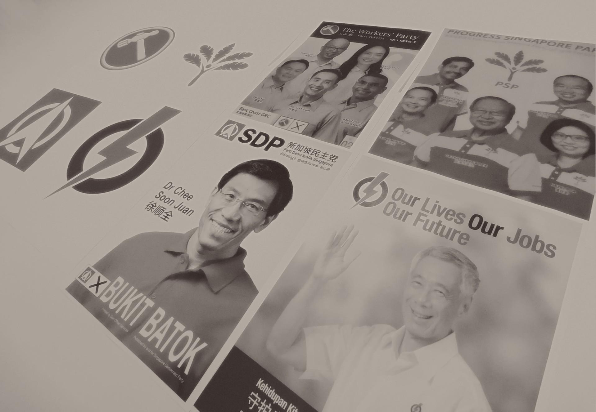 Bích chương tranh cử của bốn đảng lớn nhất mùa bầu cử 2020. Ảnh: th.boell.org.