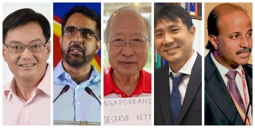Năm ứng cử viên nổi bật của mùa bầu cử 2020: Heng Swee Keat (PAP), Pritam Singh (WP), Dr Tan Cheng Bock (PSP), Jamus Lim (WP) and Paul Tambyah (SDP).