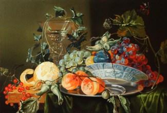Свободная копия Ян Давидс де Хем «Натюрморт с кубком, бабочкой, лимоном и виноградом» холст, масло 40х60см Цена: 25 000 руб. Без багета.