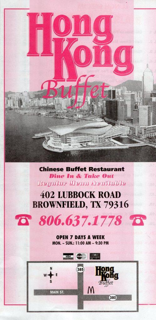 Hong Kong Buffet Menu Brownfield Lubbock Menu