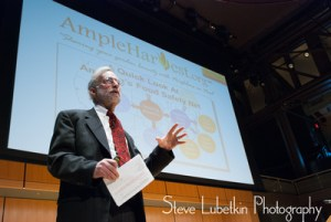 Gary Oppenheimer, founder and executive director of AmpleHarvest.org, speaks at the Tri-State Sustainability Symposium in Philadelphia on March 7, 2014.