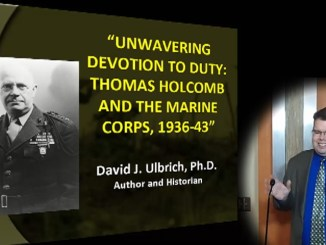 Dr. David Ulbrich makes a point during his lecture about Thomas Holcomb.