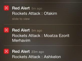 Screen shot of the Red Alert Israel app.