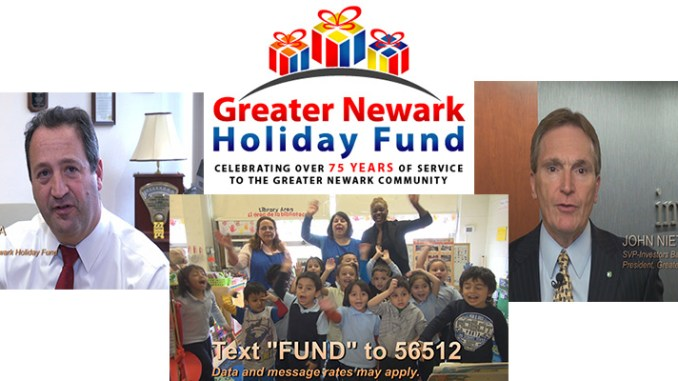 Corporate executives Ralph LaRossa, the president and chief operating officer of PSE&G, left, and John Nietzel, senior vice president of Investors Bank, appear in the public service announcement we produced for the Greater Newark Holiday Fund.