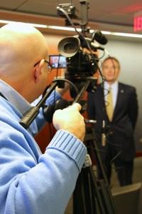 LMC's chief videographer Steve Lubetkin lining up the shot with Investors Bank SVP John Nietzel.