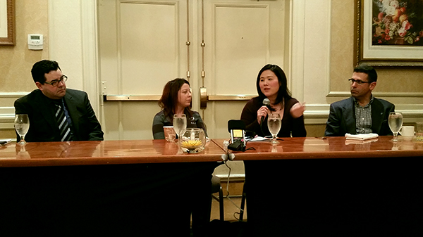 Media panelists at the PRSA Delaware program were (from left): Chris Coates of The News Journal, Amy Cherry of WDEL, Shirley Minn of WHYY and Jose Somalo of Hoy en Delaware