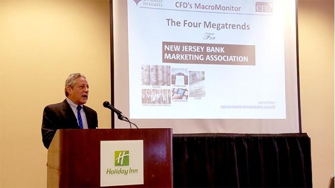 Larry Cohen, economist from SRI, speaking at NJ Bank Marketing Association economic outlook event, 12/7/2017