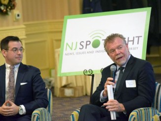 Panelists at NJSpotlight Zero-Emission Vehicle roundtable, December 14, 2017, included (from left): Kevin George Miller, Chargepoint, and Jim Appleton, NJ Coalition of Automotive Retailers