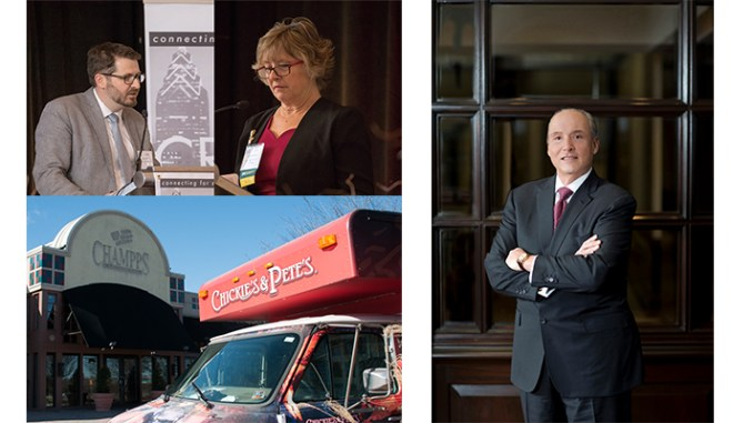 Stories that won awards for SBN's Lubetkin included (clockwise from top left): Scott Emmerick, left, executive director of YouthBuild Philadelphia, and Lynn McDowell, president of CREW Philadelphia; Joseph Coradino, chairman and CEO of PREIT; and a new Chickie's & Pete's in Marlton, NJ