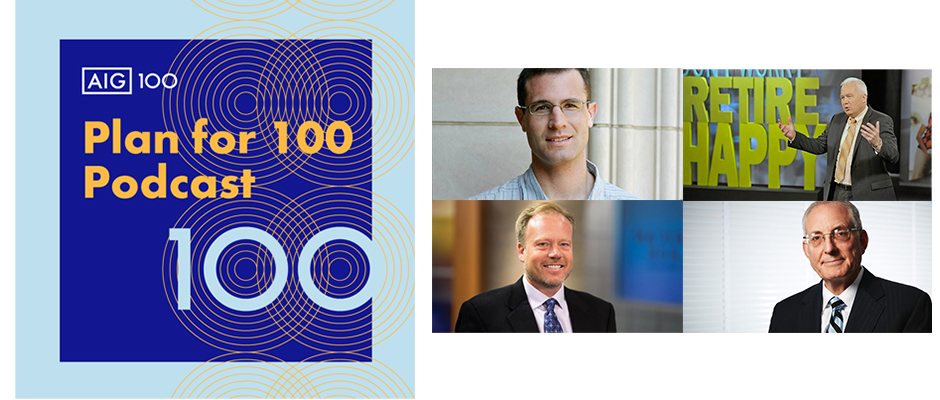 """The first four podcasts in the """"Plan for 100"""" series feature conversations with retirement and investment experts (clockwise from upper left): Alan Castell; Tom Hegna; Ed Slott; and Dr. Michael Finke."""