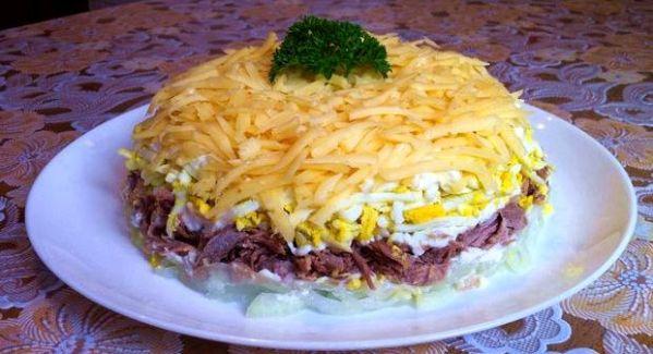 Салат мужской каприз с говядиной и огурцами рецепт с фото