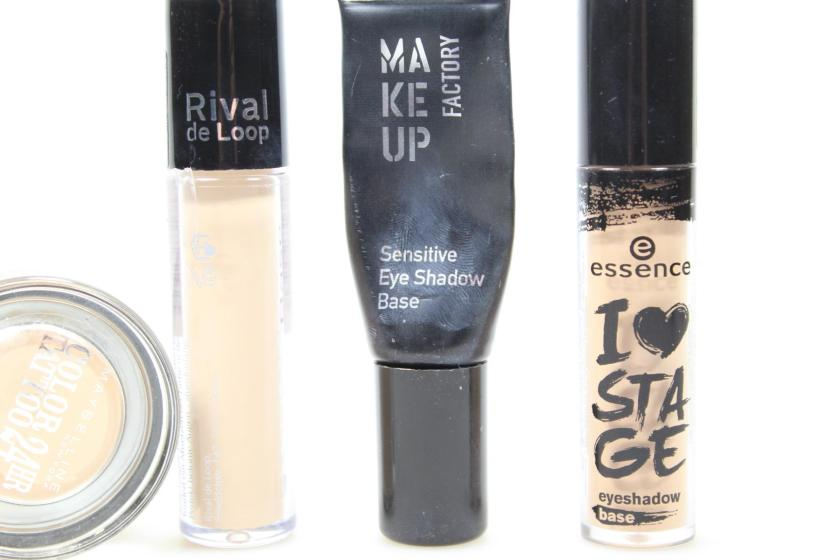 ", Maybelline Creamy Mattes Color Tattoo Lidschatten ""Creme de Nude"",Rival de Loop Eyeshadow Base (flüssig),Make up Factory Sensitive Eye Shadow Base, essence I Love Stage Eyeshadow Base"