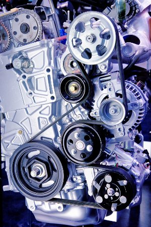Close-up of a serpentine belt on a High-end Turbo-charged sportscar