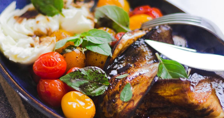 Salada de Berinjela, Tomate e Mozzarella de Búfala