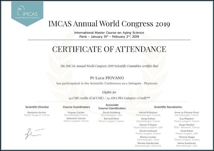 imcas 2019 certificate of attendance