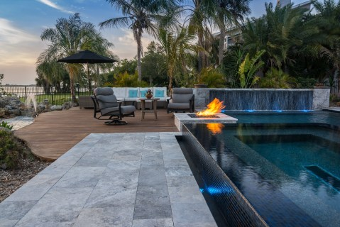 Deck, Fire Pit, Custom Spa and Custom Pool in Osprey, Florida