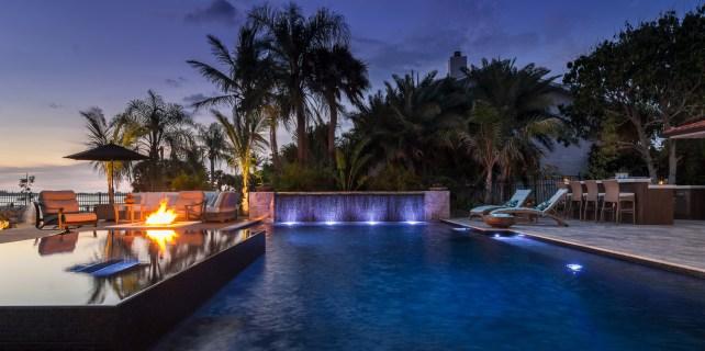 Deck, Fire Pit, Custom Spa and Custom Pool in Osprey, Florida