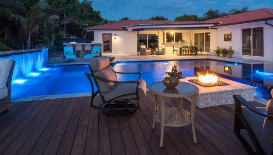 Outdoor Kitchen, Outdoor Dining, Deck, Fire Pit, Custom Spa and Custom Pool in Osprey, Florida