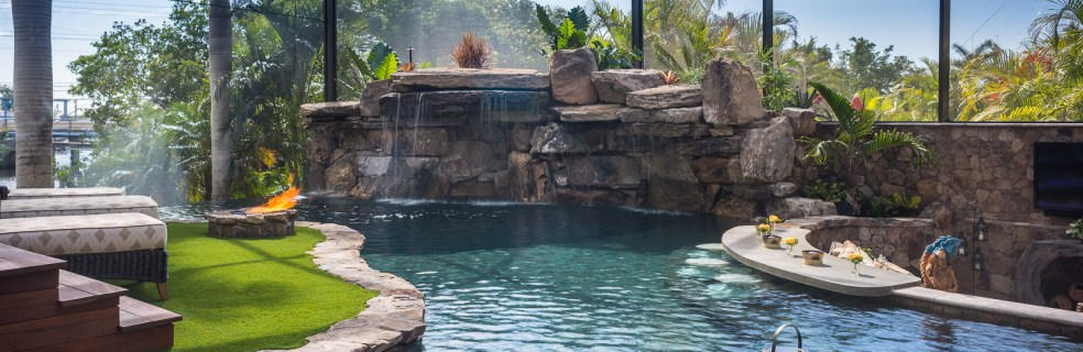 Lazy River Lucas Lagoons Custom pool on Pine Island waterfall and grotto