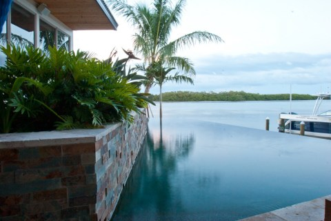 Infinity edge pool with bay view