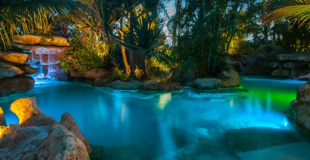 Panorama of lagoon pool at night