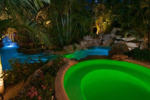 Spa and lagoon at night