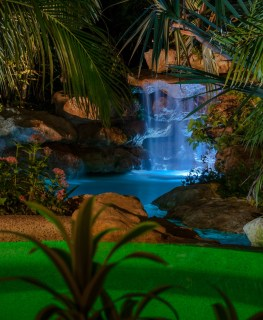 Spa and grotto detail at night