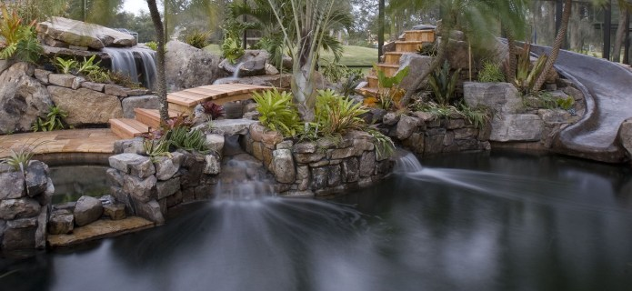 Lagoon Pool Remodel into Tropical Resort with Slide, Grotto and Stream