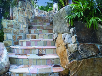 Stairs leading from the Spa up to the Slide entrance