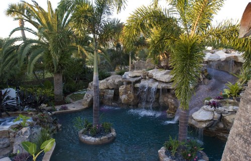 Overhead view of Lagoon Pool, Grotto, Slide, Island Planters and Spa