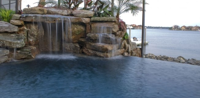 Grotto and infinity edge pool