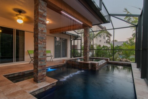 Rain curtain and modern pool