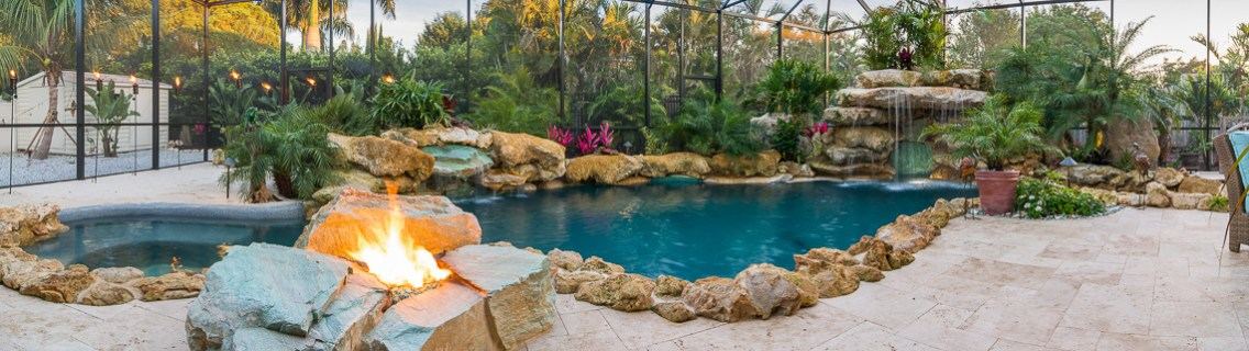 Panorama of Caribbean Limestone Pool and Fire Pit
