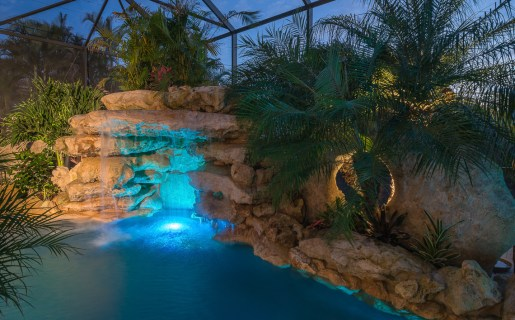 Blue lights accentuate the turquoise stone in the grotto