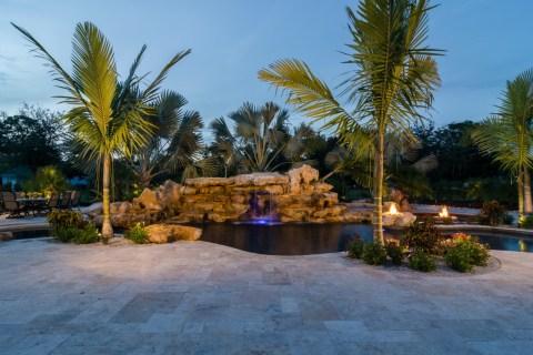 Lagoon Pools with stone waterfalls natural pool waterfalls