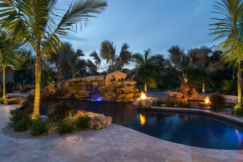 Natural pool Sundeck wading area Fire pits and spa Natural lagoon pools with rock waterfalls