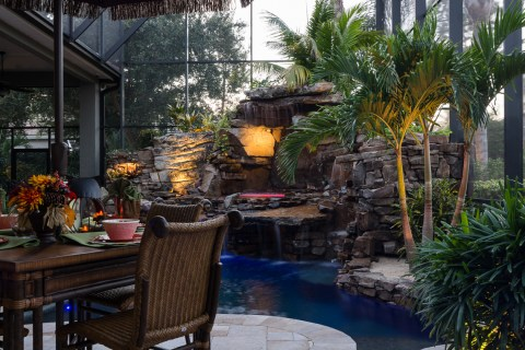 Waterfall and Spa from dining area