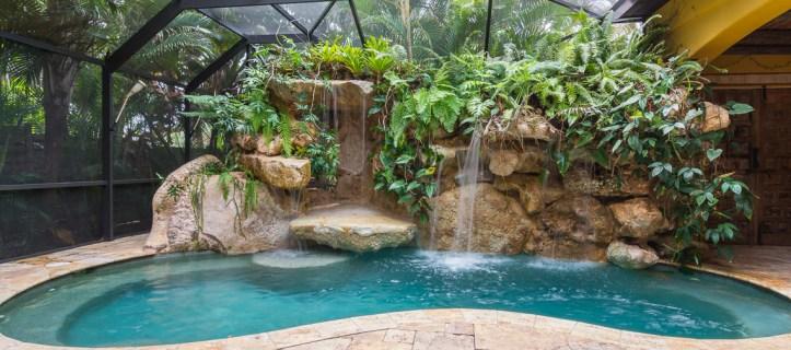 Full view of the limestone Siesta Key lagoon pool