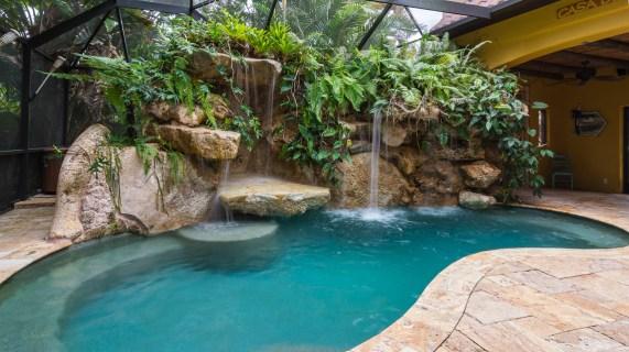 Natural limestone lagoon pool Siesta Key lagoon pool
