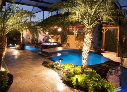 Natural pool at night