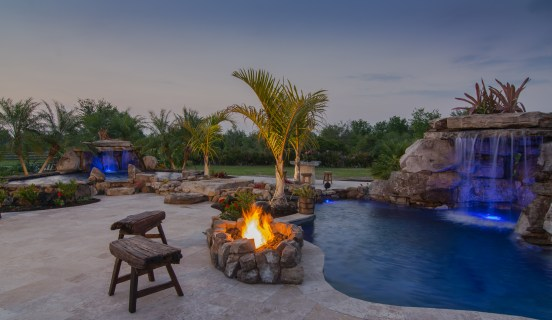 Dusk view sitting at the Lagoon Pool Fire Pit