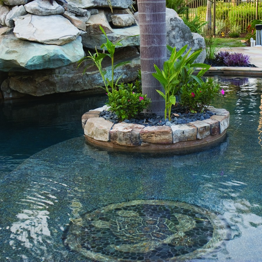 Lagoon Pool With Slide, Island Planters, Large Grotto And