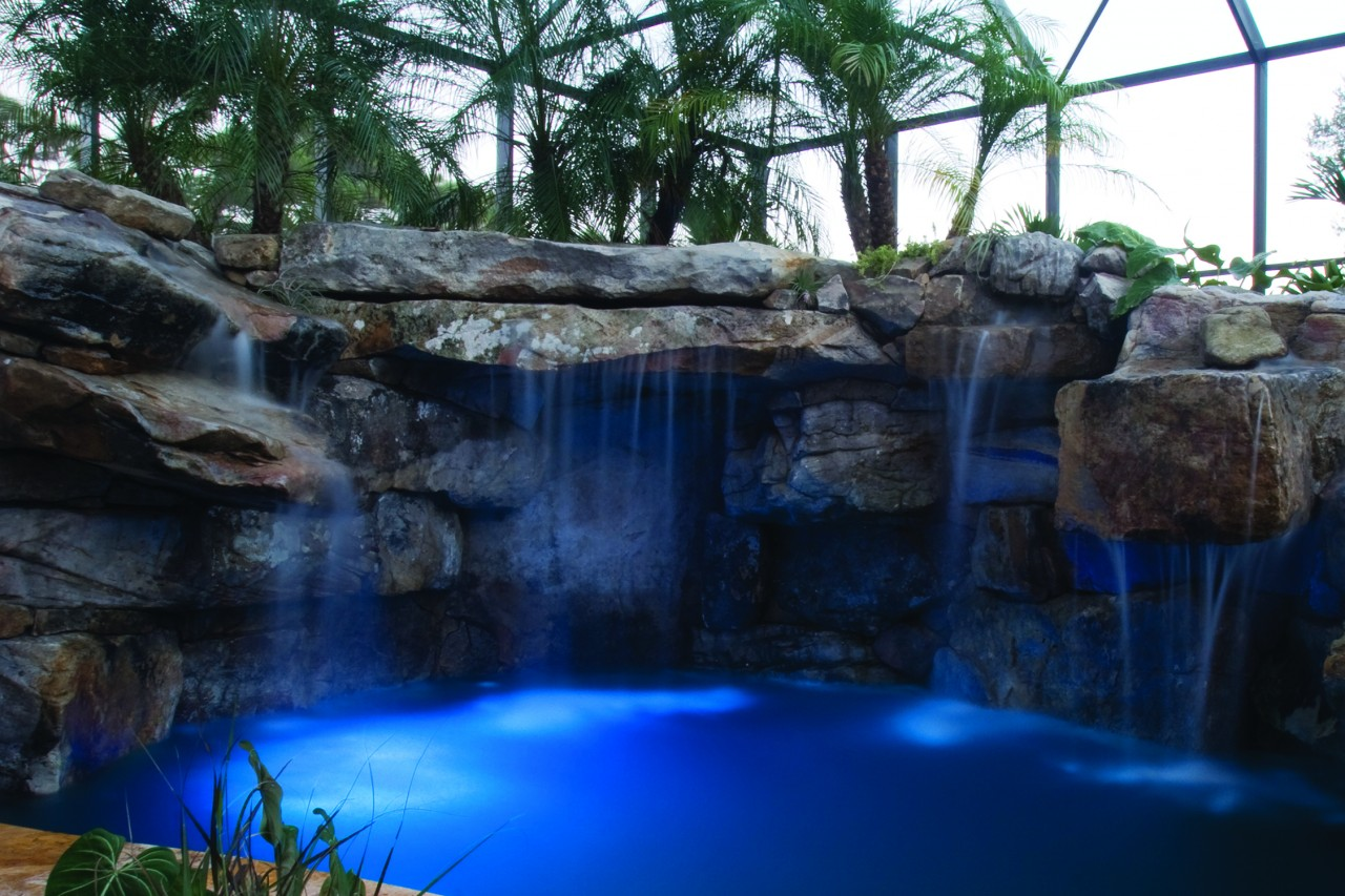 Natural Lagoon Pool With Spa Stream Amp Outdoor Kitchen