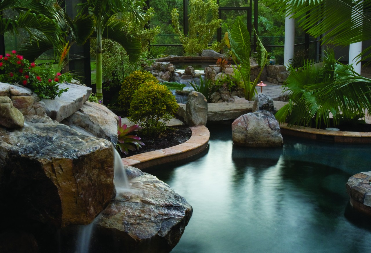Natural lagoon pool with spa stream outdoor kitchen - Lucas lagoons ...