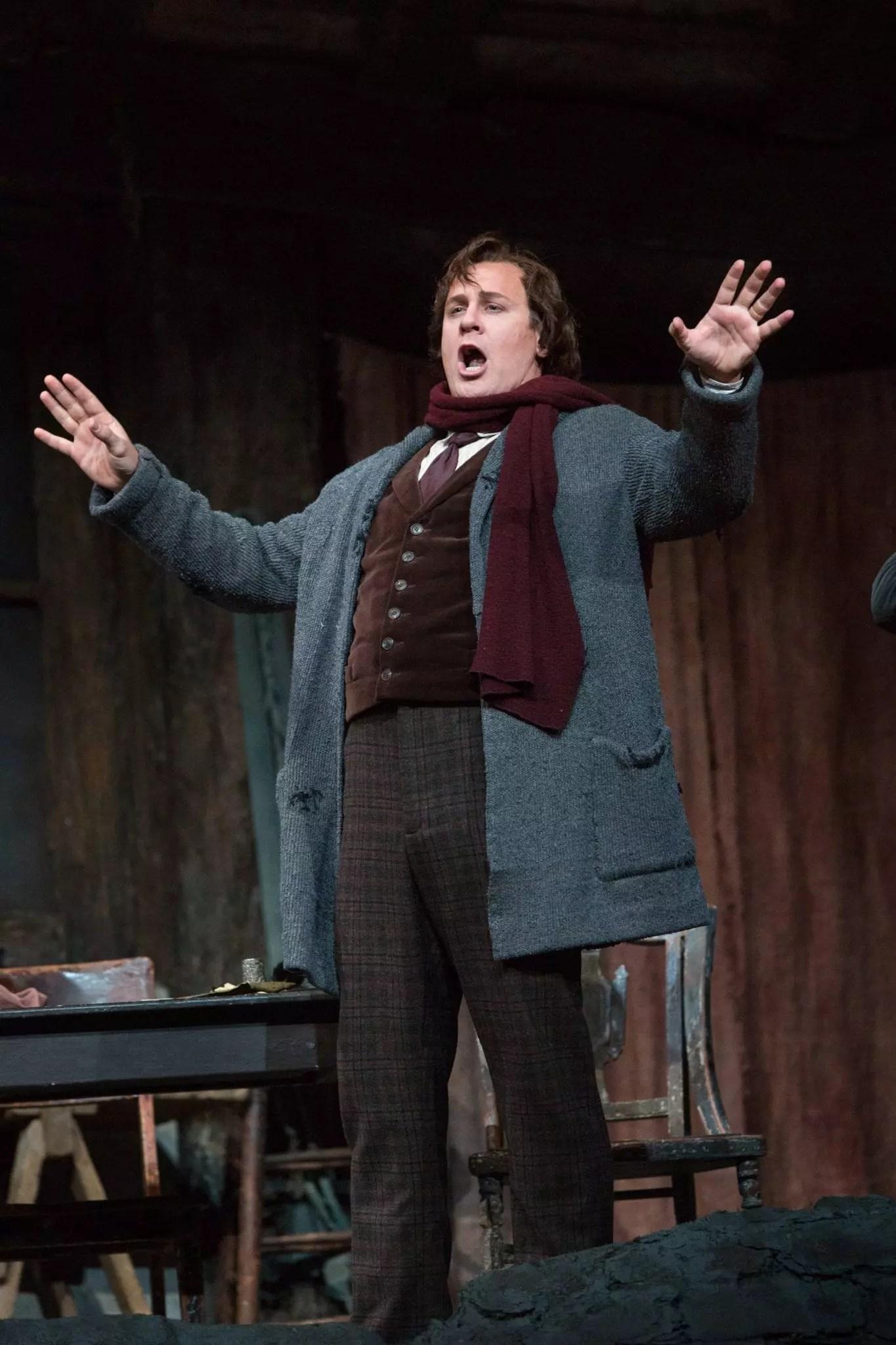 Lucas Meachem as Marcello in La Boheme at the Metropolitan Opera