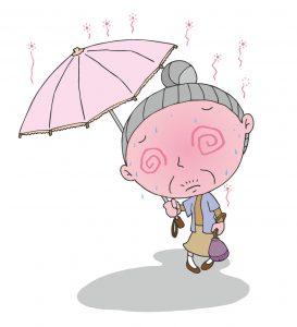 熱中症気味の高齢者のイラスト